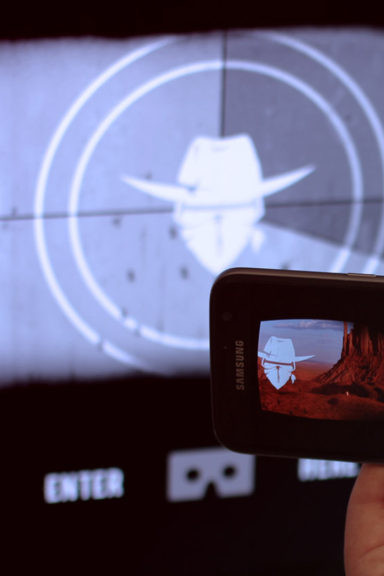 Zubr Trainrobber augmented mixed reality projected target image of a wild west scene