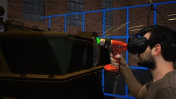Zubr Mixed Reality capture of Virtual Reality engineer training demo for Ministry of Defence with custom HTC Vive controller tool model