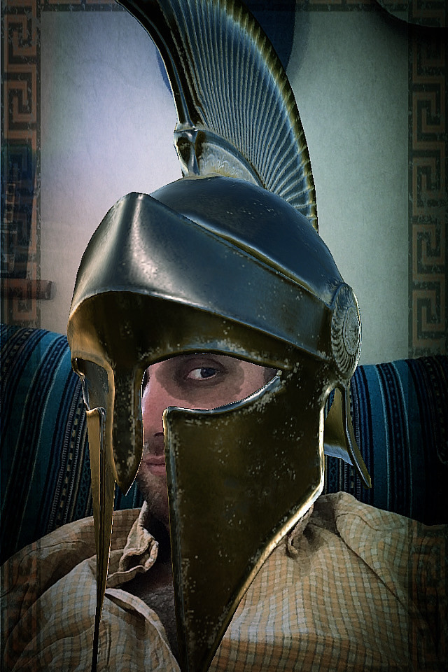 Augmented reality Instagram filter of ancient Greek helmet made by Zubr