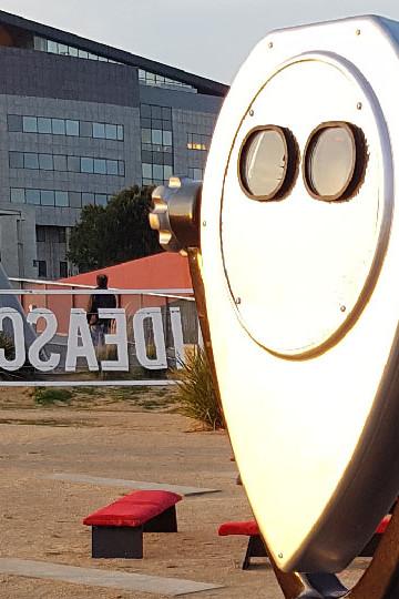 Zubr virtual reality binoculars on location in Cardiff Bay