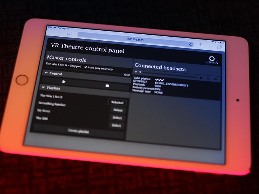 Limina VR Theatre cinema control panel by Zubr