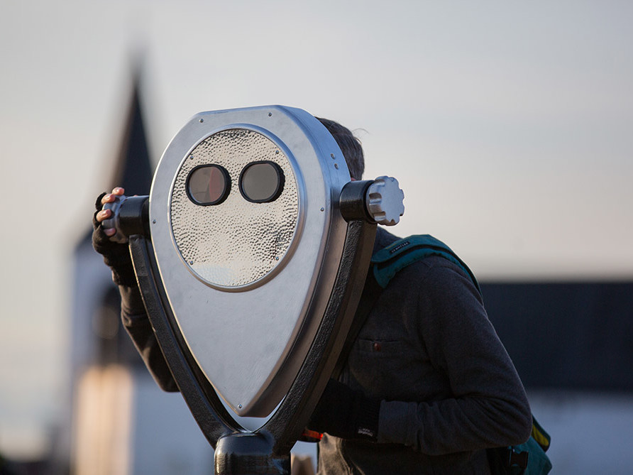 Augmented reality binoculars for cultural heritage and placemaking installed by Zubr at Cardiff Bay