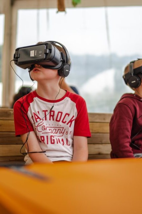 Kids at the Eden Project on a virtual reality safari adventure