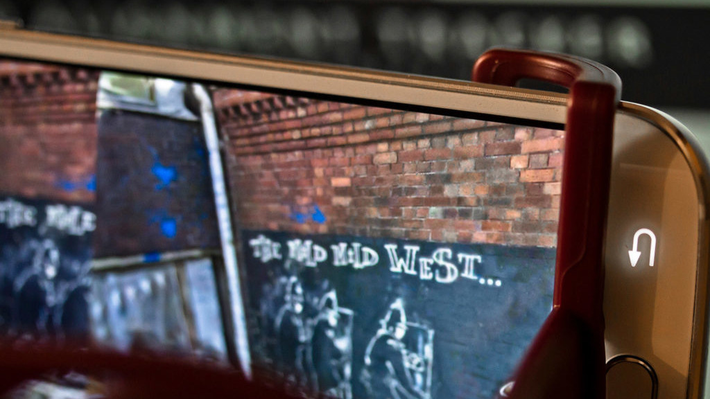 Augmented reality street art featuring 3D scan of Banksy Mild Mild West