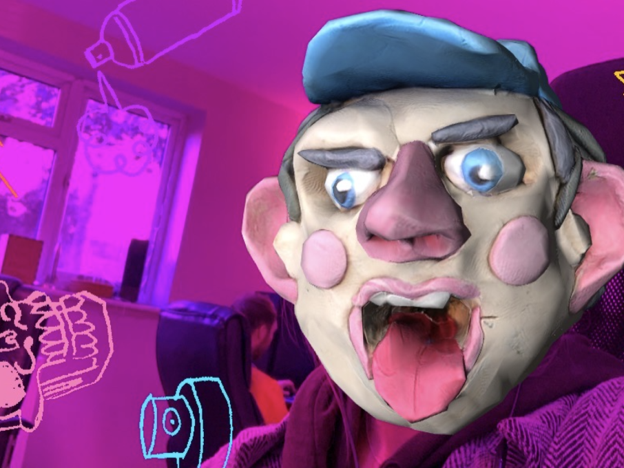 Graffiti Instagram AR filter with photogrammetry plasticine stop motion face