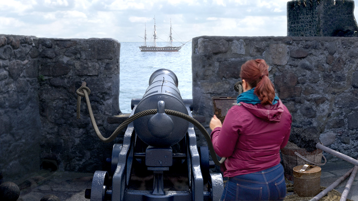Zubr augmented reality cannon fire at historical sites app