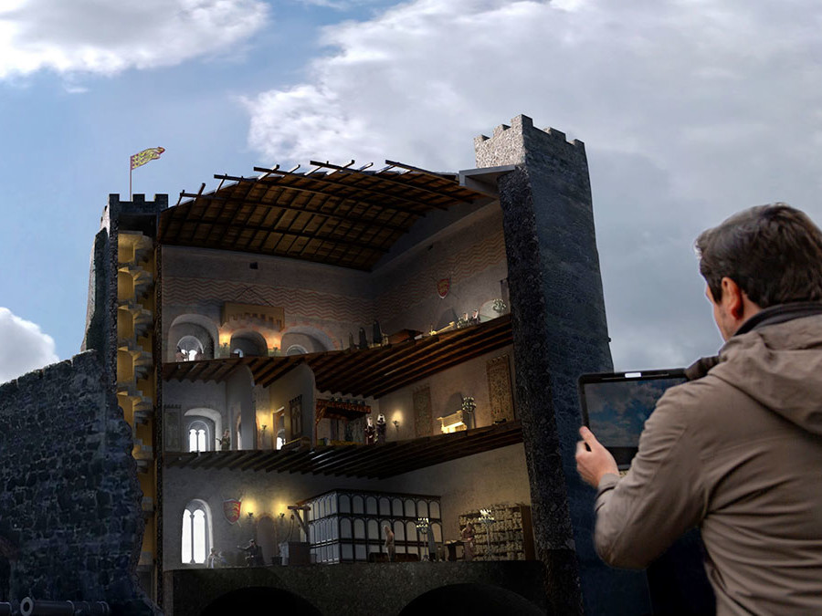 Augmented reality for heritage sites 3D cutaway view of ancient castle